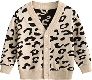 Baby Boy Girl Leopard Outfits, Toddler Autumn Cardigan Button-Down Cotton Sweater Top One Piece Outfits