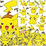 ZJJHX Etiqueta engomada Animada de la Historieta de Pikachu Personalidad Caja Linda Monopatín Etiqueta engomada de la Motocicleta Caja de la Maleta Etiqueta Impermeable 54 Piezas