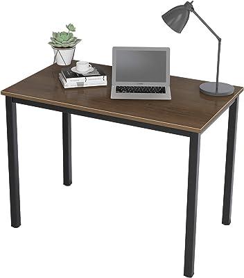 DlandHome Bureau Informatique d'ordinateur en Bois 100 * 60cm Postes de Travail Table d'étude/d'écriture/à Manger pour Maison/Bureau,Noyer & Noir
