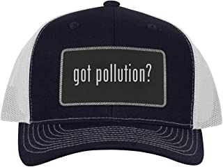 One Legging it Around got Pollution? - Leather Black Metallic Patch Engraved Trucker Hat