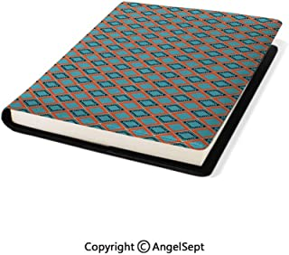 Stretchable Book Covers Online,Squares Rectangles Abstract Shapes Vintage Pattern with Modern Elements Blue Vermilion Black,9