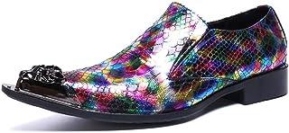 YOWAX Zapatos de los Hombres Cabeza de Metal Zapatos de Cuero de Color Cuero por un Partido Informal, Zapatos de Cuero Per...