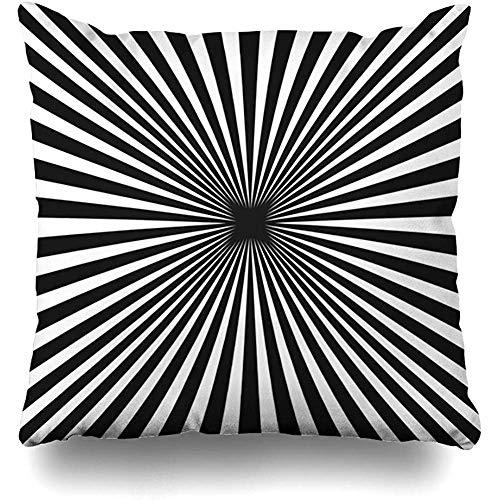 Throw Pillow Case 45x45 cm Black White Sunburst Striped Simple Repeat Vintage Radial Stripes Textures Tile Seamless Geometric Cushion Cover