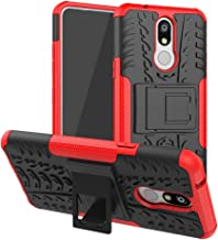Mobile phone case Shockproof PC + TPU Tire Pattern Case for LG K40, with Holder (Black) (Color : Red)