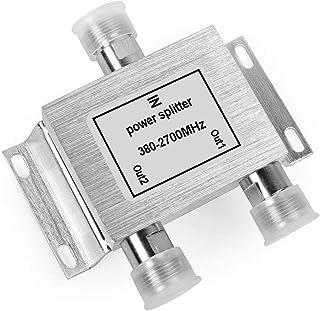 Distribuidores de señal Splitter Combinador de Cables Satélite Repartidor Interior con Conector N de 2 Salidas (380-2700MHz, 2 vías)