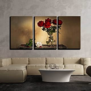 wall26 - 3 Piece Canvas Wall Art - Beautiful Still Life with Jug and White and Red Roses - Modern Home Decor Stretched and Framed Ready to Hang - 24