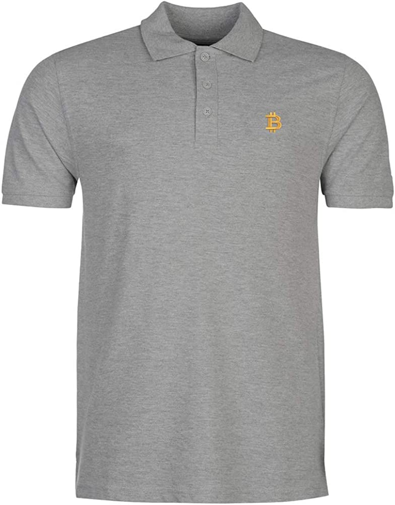 Mens Bitcoin Currency Embroidery Embroidered Polo Shirts