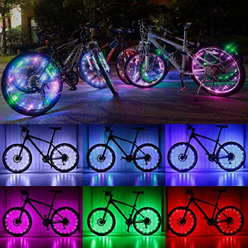 MANGANESE Bike Wheel Lights, Waterproof Bike Lights for Wheels(7 Colors, Flashing) Bright Lights Cycling Decoration for Kids Adults Night Riding(2 Packs)