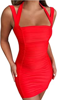 Womens Off Shoulder Thick Double Straps Rushed Bodycon Cocktail Mini Dress