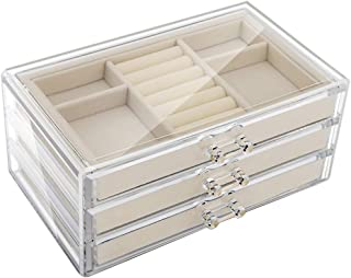 Emibele Jewelry Box, 3 Drawers Velvet Jewelry Organizer for Ring Earring Necklace Bracelet Display Clear Acrylic Jewelry Storage Case Gift for Women Ladies Girls - Beige