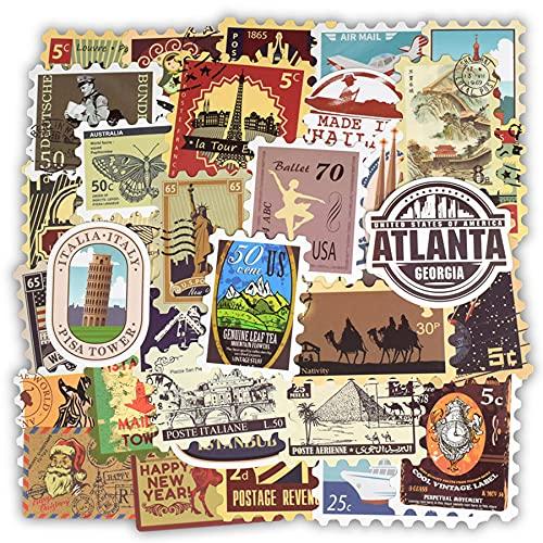 50 pegatinas retro para sellos de viaje, diseño de edificio, pegatinas de juguete para maleta de bricolaje, guitarra, portátil, coche, bicicleta