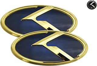 3D K Logo Emblem Blue & Gold Edition Set 3pc Front + Rear + Mini Sticker (Fits: KIA 2018+ Stinger)
