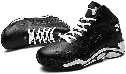 Basketball Chaussures Homme en Cuir Synthétique 3D Mode Soulagement De Sport Résistant à l'usure Non Slip baskets,noir,45