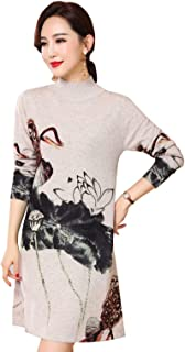 Women's Wool Floral Printed Slim Knitted Mock Neck Warm Pullover Sweater Dresses Tops 1523