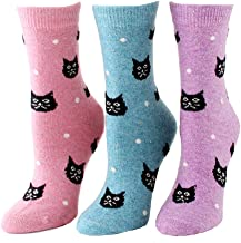 Women Novelty Wool Socks Funny Cute Cats Colorful Pattern Warm Thermal Crew Tube
