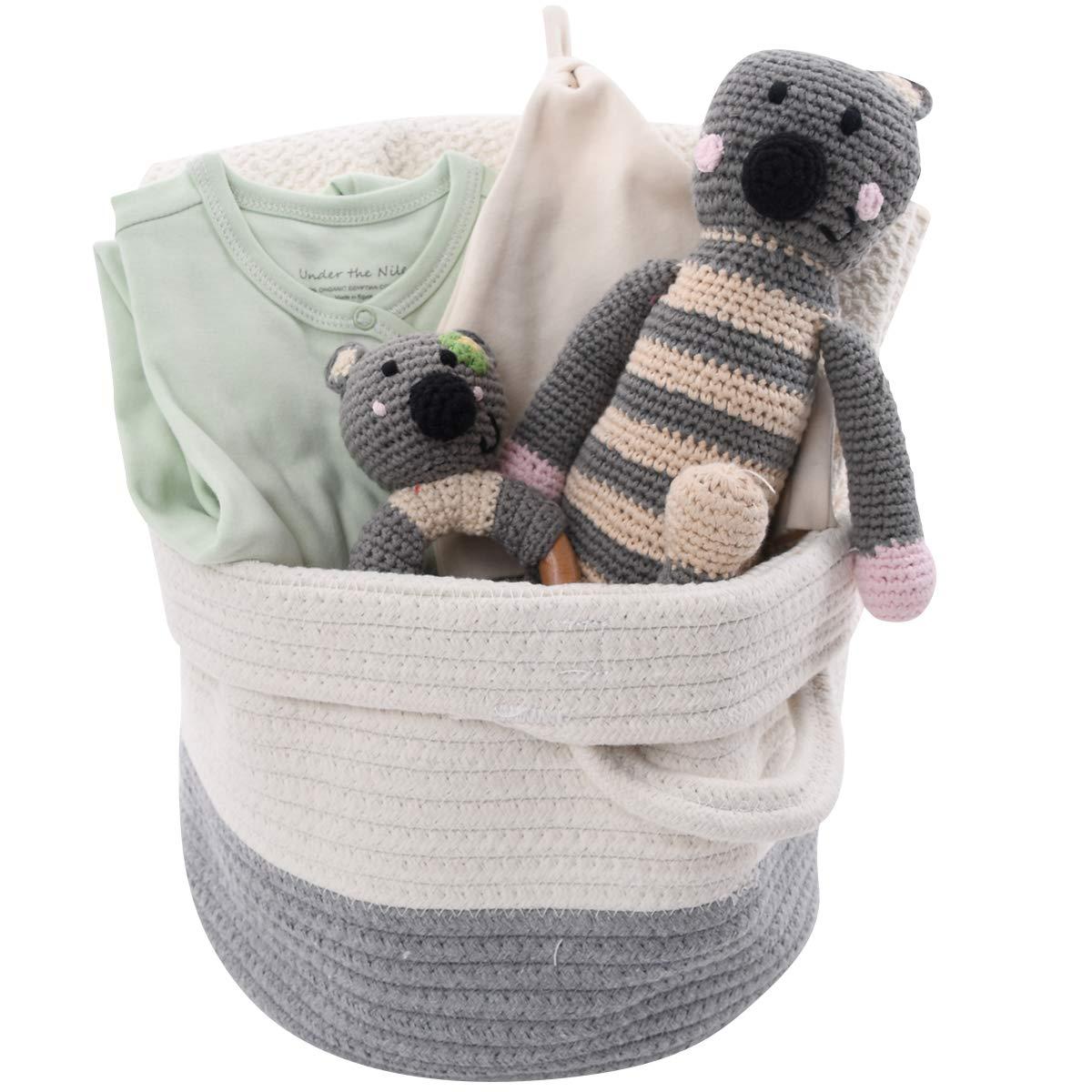 High End Baby Gift Basket - Gender Organic Blan Neutral Clothes Alternative Over item handling dealer