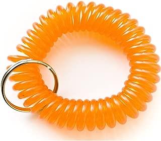 5 Pieces Orange Color Stretchable Plastic Bracelet Wrist Coil Wrist Band Key Ring Chain Holder Tag