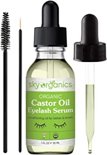Organic Castor Oil Eyelash Serum by Sky Organics (1 oz) USDA Organic Cold-Pressed 100% Pure Castor Oil Natural Eyelash Serum Hexane-free Castor Oil with Mascara Brushes for Eyelashes and Eyebrows