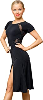 Superstar Series:G3044 Latin Ballroom Dance Professional lace Sides Split Swing Dress (Note: no Belt is Included)
