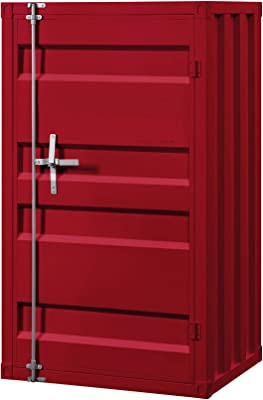 Benjara Industrial Style Metal Base Single Door Chest with Slated Pattern, Red