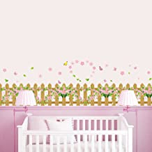 BIBITIME Garden Fence Flower Border Wall Decal Butterfly Skirting line Sticker for Living Room Corners Kitchen Cooking Bench Hearth Around PVC Wallpaper