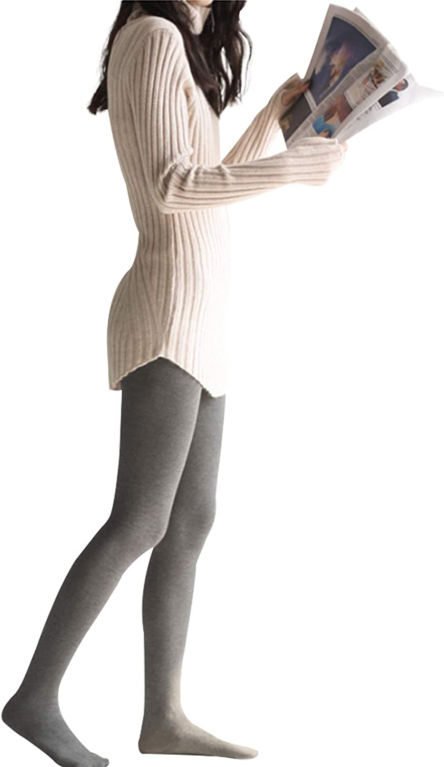 Bestgift Women's Cotton Breathable Opaque Tights with Foot