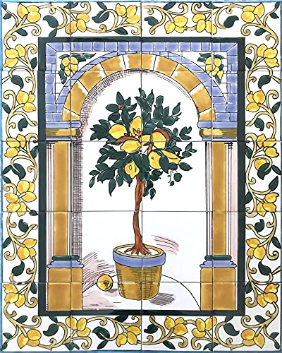 Aperiy Cartel de metal para colgar en la pared, diseño de mosaico de cítricos, 20 x 30 cm
