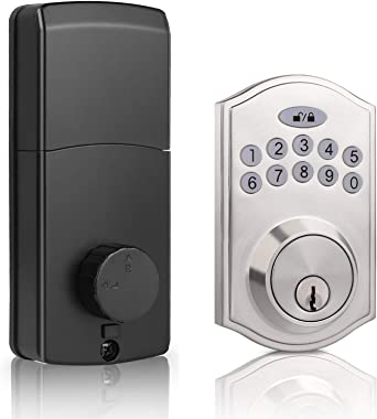 DECORITEN Electronic Deadbolt with Keypad Entry Door Lock in Satin Nickel Finish, Keyless Electronic Keypad Lock Exterior and
