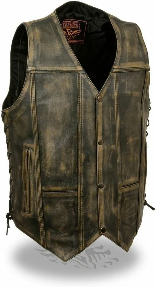 Milwaukee Men's Direct sale of manufacturer Motorcycle New York Mall Distressed Brown Vest Leather Pockets
