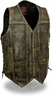 Milwaukee Men's Motorcycle Distressed Brown Pockets Leather Vest Side Laces Soft New (XL Regular)