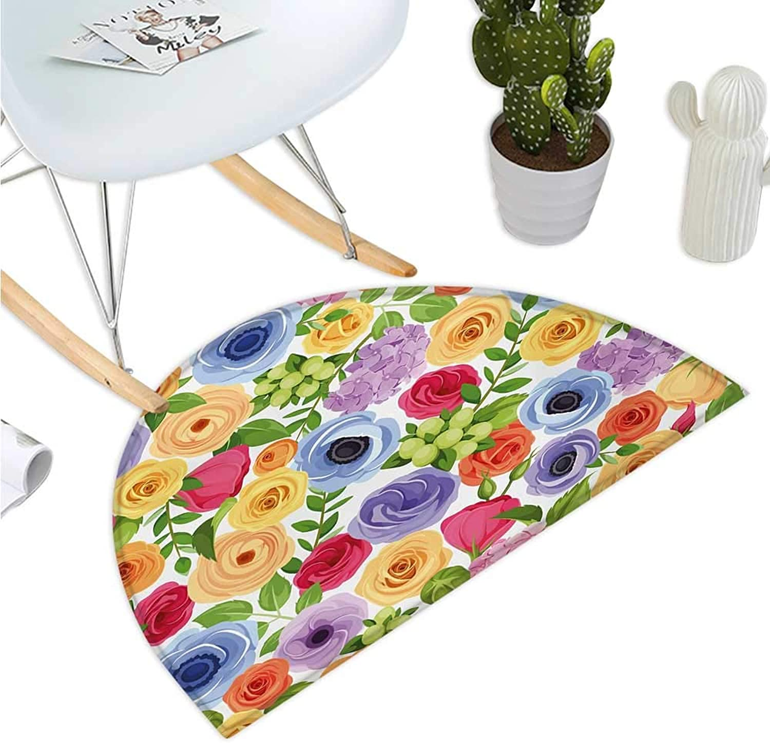 Anemone Flower Semicircular Cushion Ornate colorful Fresh Flowers of Summer Season Forest with Green Leaves Entry Door Mat H 47.2  xD 70.8  Multicolor