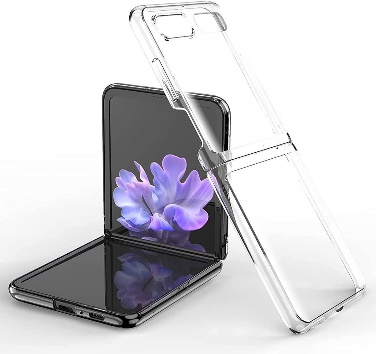 Koconh for Samsung Galaxy Z Flip 3 Case - 360° Full Protection Clear Crystal Transparent Plating Case - for Z Flip 3 Case, for Galaxy Z Flip 3 Case