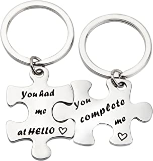 Couples Puzzle Keychain You Complete Me You Had Me at Hello Set of Two Couples Gift for Lover