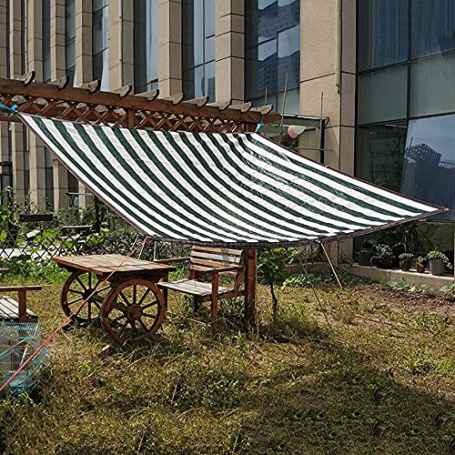 MANG Paño De Sombra De Invernadero Red De Sombra De Protección Solar Toldo Vela De Sombra De Jardín A Rayas Verde Y Blanco 6mx 6m (10ftx 10ft)
