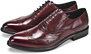 Fashion Carved Business Lace Up Oxford Shoes Formal Shoes (Color : Claret, Size : 40)
