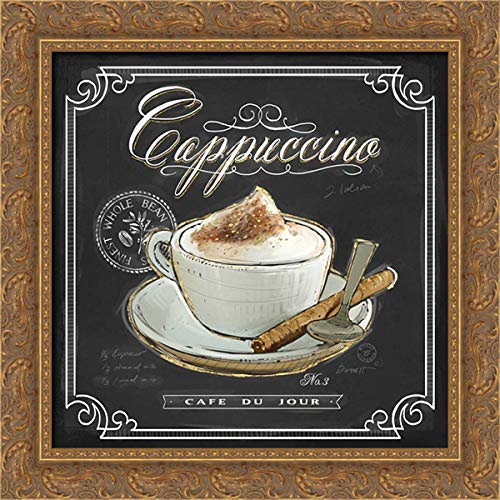 Barrett, Chad 20x20 Gold Ornate Framed Canvas Art Print Titled: Coffee House Cappuccino