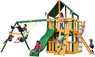 Chateau II Clubhouse with Timber Shield and Canopy Cedar Swing Set Roof: Sunbrella Canopy - Canvas Forest Green