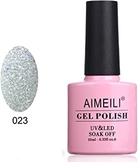 AIMEILI Soak Off UV LED Gel Nail Polish - Silver Glitter Explosion (023) 10ml