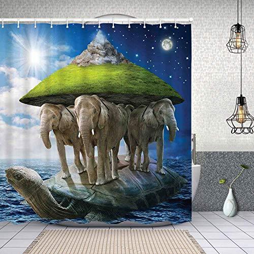 Cortina de Baño con 12 Ganchos,Animal Tortuga llevando Elefantes y la Tierra sobre Sus Espaldas Filosofía cósmica,Cortina Ducha Tela Resistente al Agua para baño,bañera 150X180cm