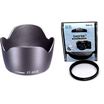 SHOPEE Branded Camera Flower Lens Hood Compatible with for Canon Eos Camera Lens Et 60 Replacment 18-55Mm 55-250Mm with 58mm Saftey uv Lens Filter