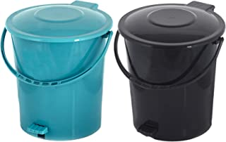 Kuber Industries 2 Pieces Plastic Dustbin Garbage Bin with Handle, 10 Liters (Black & Green) - CTKTC034670