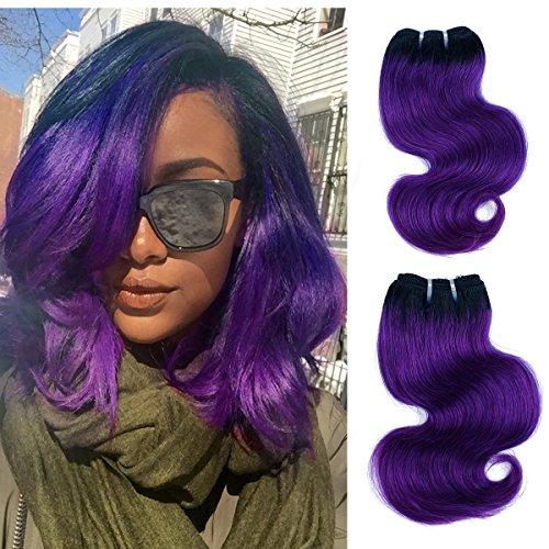 FASHION LINE 8' Human Hair Bundles Ombre Two Tone Brazilian Virgin Hair Extensions Body Wave (4 bundles, 1b/purple)