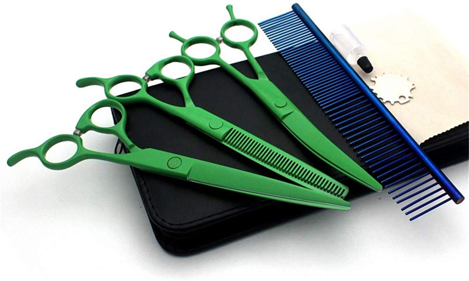 Dog Grooming Scissors KitThinning and Curved Sharp Shears for Small or Large Dogs, Cats or Other Pets (Green)