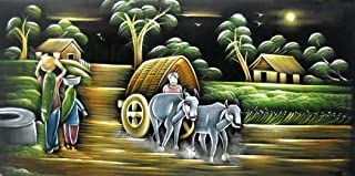 Village Scene/ Indian Painting Wall Décor Wild Life Abstract on Velvet Fabric: Size - 24