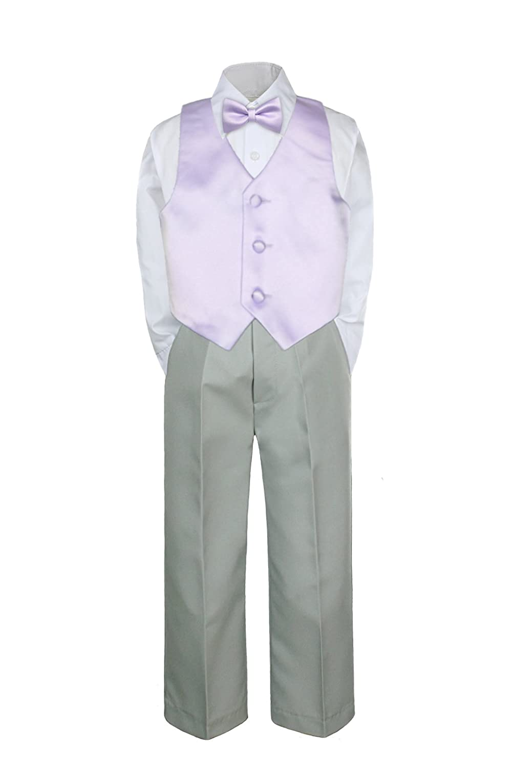 4pc Formal Baby Toddler Boys 4 years warranty Lilac Sui Silver Tie Bow Vest Pants Popular products