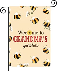 ZJXHPO Welcome To Grandma's Garden Flag Grandparents Outdoor Decor Bee Yard Gift Honey House Gift (Grandma's Garden)