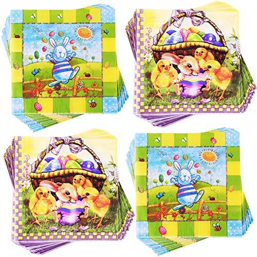 Yaomiao 80 Stücke Ostern Papierservietten Ostern Bunny Ei Serviette Cocktail Servietten für Partybedarf, 2 Stile