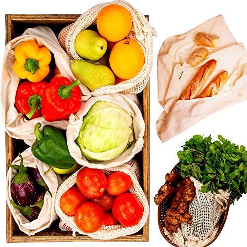 Swag Produce Bag Cotton - Reusable Produce Bags - Cotton Vegetable Bags - Zero Waste Produce Bags - Organic Muslin Bag - Mesh Bag for Vegetables - 6 Grocery Bags, 1 Bonus Swaddle Sheet- S, M, L