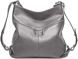Fashion Women's Solid Color Cowhide Shoulder Bag Handbag Lychee Genuine Leather Casual Shoulder Bag Soft Leather Backpack (Color : Gray)