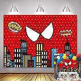 Telón de fondo de tema de la ciudad de Super City,telón de telón dede telón de araña roja de la telaraña roja Superhéroe Spiderman fotografía paisaje urbano fotografía fondo niños